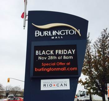 Burlington Mall's digital display sign