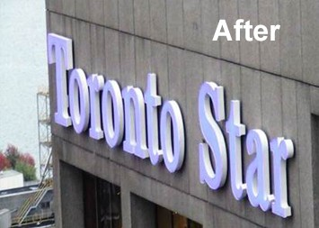 Toronto Star's new channel letter sign rebuilt with LED modules