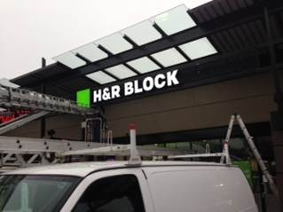 H&R Block retail sign