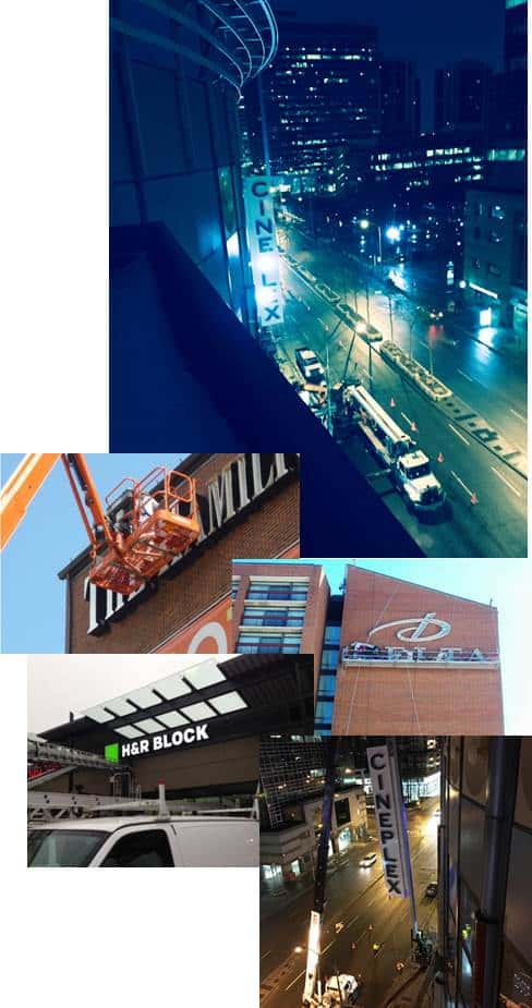 collage of images showing sign installation