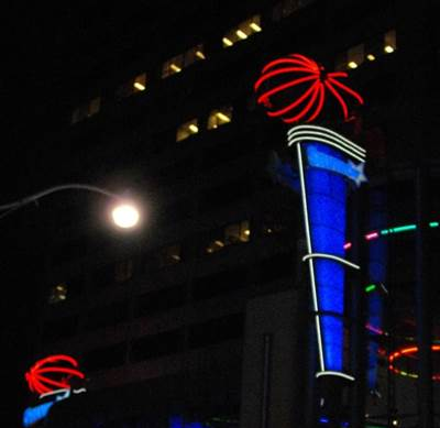 custom sign lit up at night in Toronto