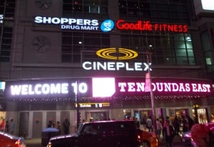 Cineplex display sign in Toronto