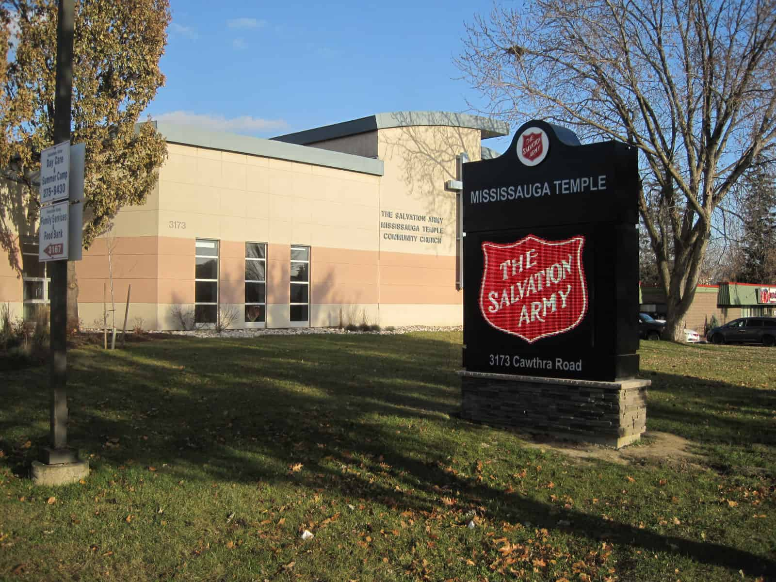 Led Pylon Ground Sign For Salvation Army Mississauga